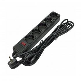 Сетевой фильтр  Gembird 3м 5роз. с выключателем, UPS-вилка, серый/черный