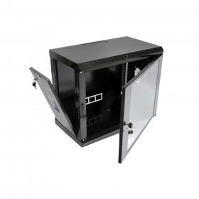 Шкаф настенный 9U, 600х350х507 мм (Ш*Г*В), акриловое стекло, серый/черный