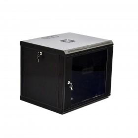 Шкаф настенный 9U, 600x500x507мм (Ш*Г*В), эконом, акриловое стекло, серый/черный